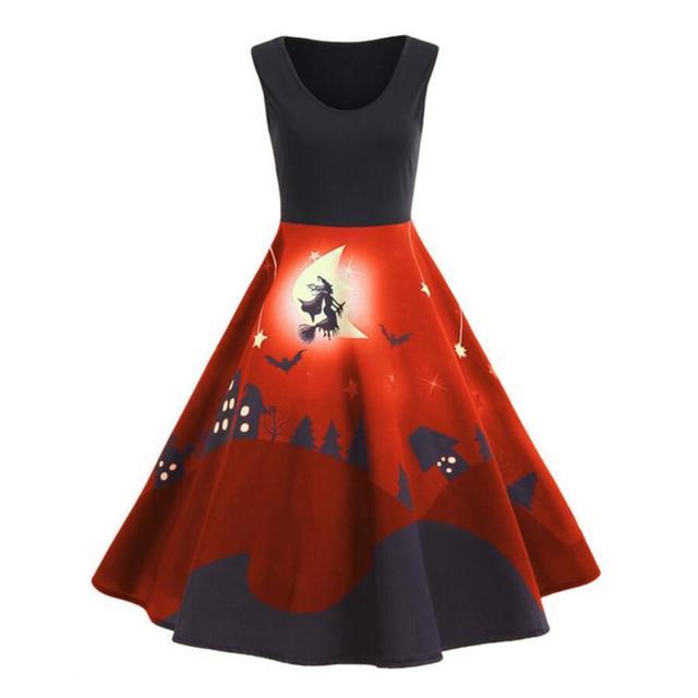 Vintage Hepburn Style Pattern Print Flare Sleeveless Dress Ball Gown Vampire Theatre Costume Midi