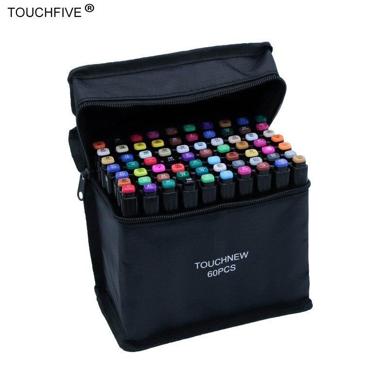 Набор маркеров Touchfive, 30/40/60/80/168 цветов, масляные спиртовые чернила, двойная кисть, ручка для рисования манги, школьные скетч-маркеры, товары д...