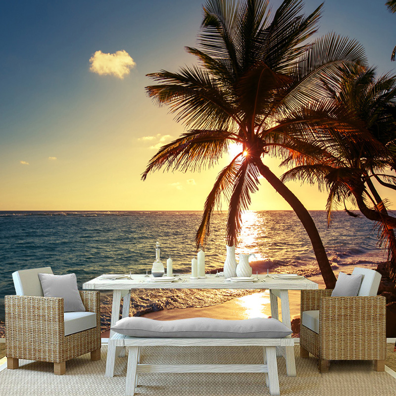 Custom 3D Mural Photo Wallpaper Beach Sunset Coconut Palm Seaside Landscape Wall Painting Restaurant Cafe Home Decor Wall Papers