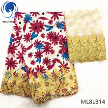 BEAUTIFICAL african bazin lace fabrics 2yards fabric with beads latest arrival 7yards/lot for party ML8LB05-24