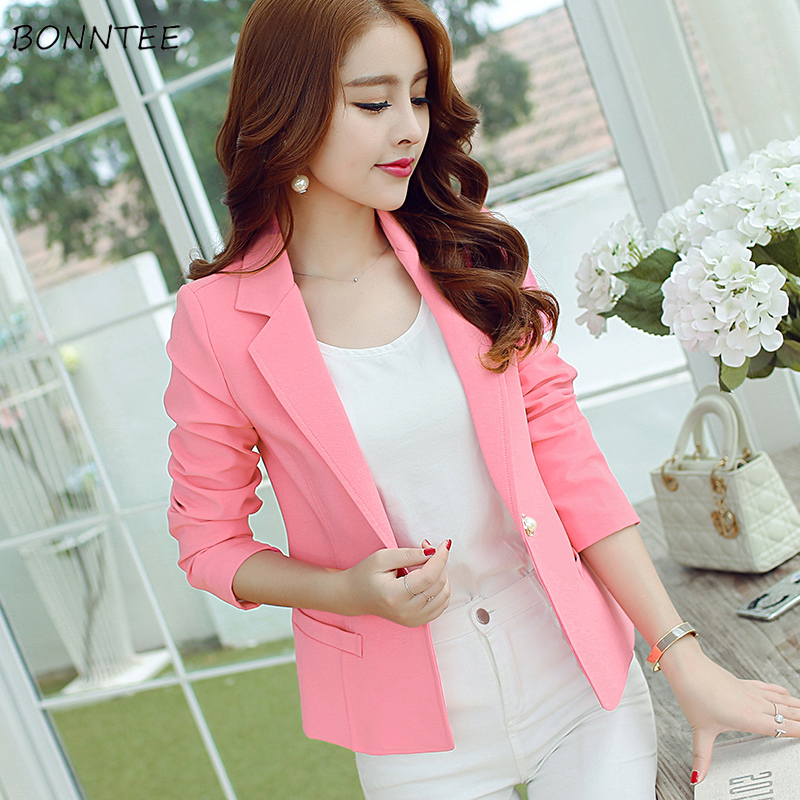 Blazers Women Slim Solid Single Button Elegant Long Sleeve Top Womens Korean Style Ladies Coats Notched Sweet Ladies Blazer Chic