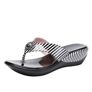 Image 2 - GKTINOO 2020 Summer Platform Flip Flops Fashion Beach Shoes Woman Anti slip Genuine Leather Sandals Women Slippers Shoe