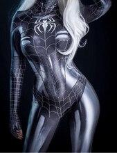 Черный кот симбиот девушка 3D Принт Дешевые спандекс женщина косплей костюм зентай боди горячая распродажа