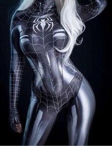 Image 1 - Черный кот симбиот девушка 3D Принт Дешевые спандекс женщина косплей костюм зентай боди горячая распродажа
