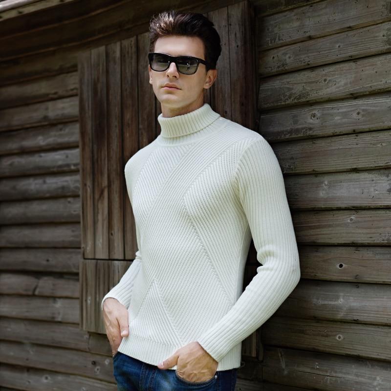 Turtleneck font b Sweaters b font font b Men b font Solid Long Sleeve Pullovers font