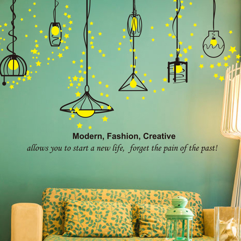 Hanging lamp wall sticker electric light vinyl kitchen dining room wall stickers decor removable decals wallpaper home decor