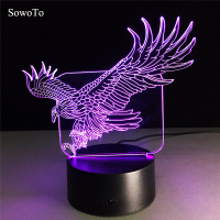 7 Color Wings Eagle Lamp 3D Visual Animal Night Lights For Kid Touch USB Table Lampara