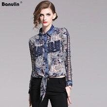 Banulin 2019 New Spring Turn-down Collar Blouse Long Sleeve Vintage Printed Stutching Denim Lace Up Slim Runway Shirt B1905