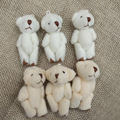 "4.5cm(1.8"") Plush Joint Small Teddy Bear Pendants miniature bear Key chain//Bouqeut jewellery accessory gift Soft Dolls"