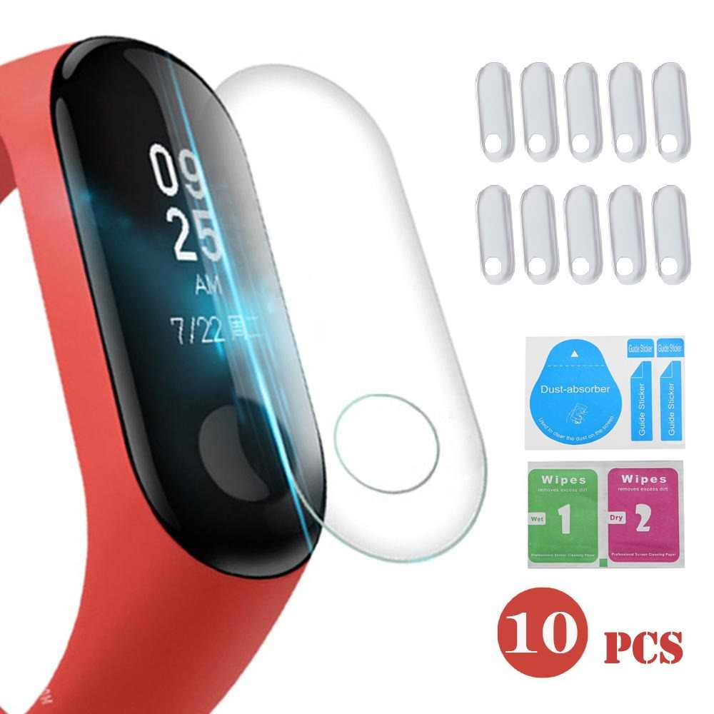 10Pcs Screen Protector Film For Xiaomi Mi Band 3 Smart Wristband Bracelet Full Cover Protective Films Not Tempered Glass