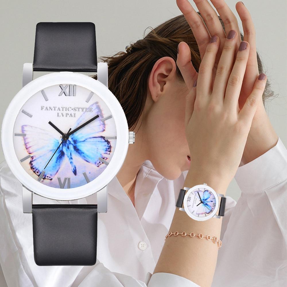 LVPAI High Quality Beautiful Fashion Women Bracelet Watch Butterfly Print Casual Round Analog Quartz Wrist Watch Women Clock #A