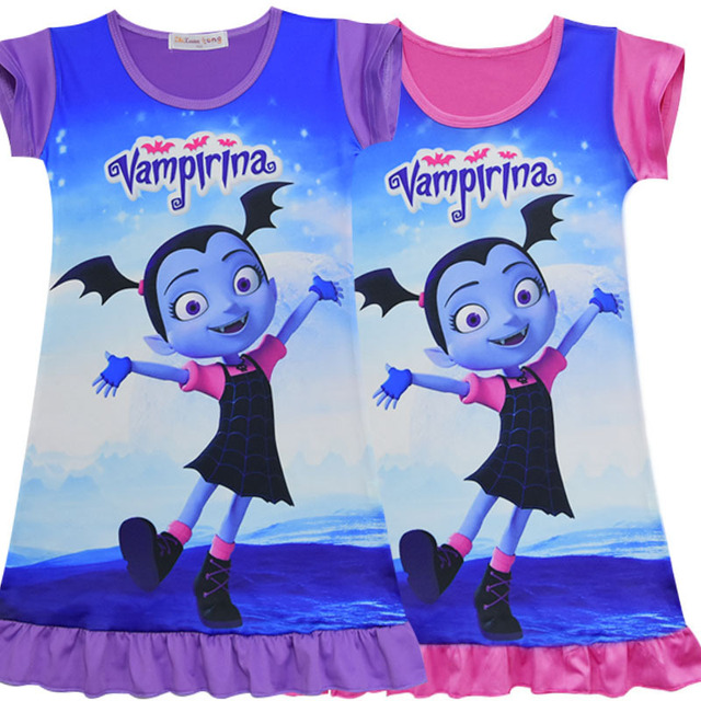 e57a00f4b7f US $4.88 25% OFF|New Summer Vampirina Dresses for Girl Princess Birthday  Party Dress Children Trolls Costume Kids Clothes Vestido Clothin ZXT704-in  ...
