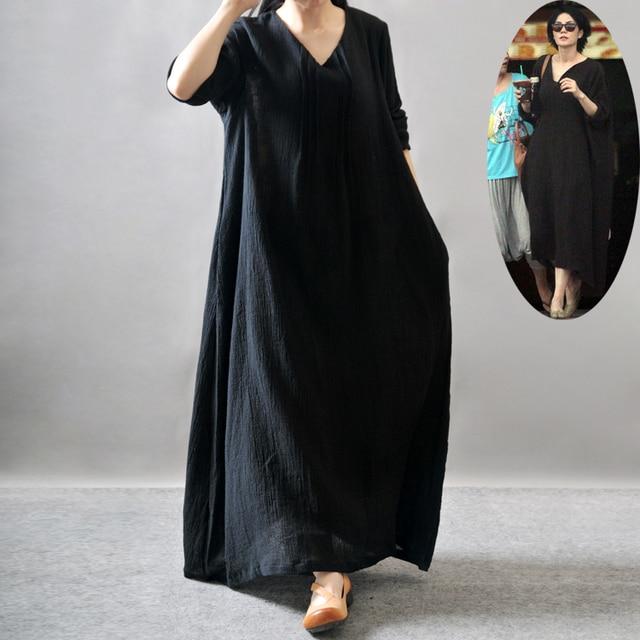 100% Linen Plus Size Maxi Dress Long Sleeve Loose Dress Big Bottom ...