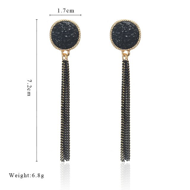 New Fashion Golden Silver Plated Dangle Hanging Black Rhinestone Long Drop Earrings 1