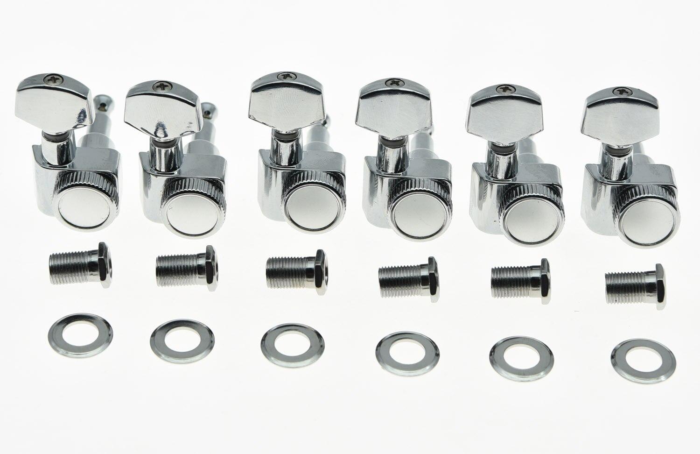 Chrome Inline 6 2 Locking Pin Ajuste Chaves Pegs Tuners Se Encaixa EUA Strat Tele