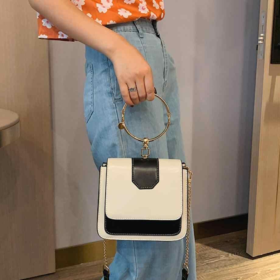 أنيقة الإناث حلقة معدنية حمل حقيبة 2019 الصيف الجديدة عالية الجودة بو الجلود المرأة مصمم حقيبة يد سلسلة الكتف حقيبة ساعي
