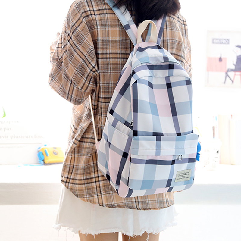 2018 Pretty Style Teenagers Cute Plaid Design Women Backpack Middle School Student Book Bags Girls Leisure Backpack