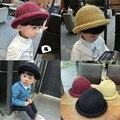 Otoño invierno de los niños del sombrero niños niñas hecha a mano gorro de lana de tejer sombrero de lana de sombrero de pescador cúpula de curling rollo casquillo del sombrero del ganchillo