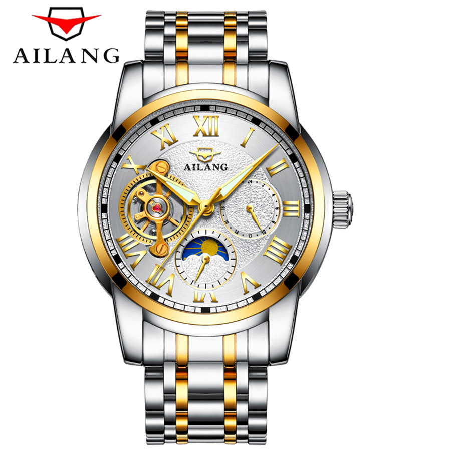 Luxury Brand Tourbillon Stainless Steel Watch Men Business Casual Automatic Mechanical Watches Military Wristwatch Waterproof hollow brand luxury binger wristwatch gold stainless steel casual personality trend automatic watch men orologi hot sale watches