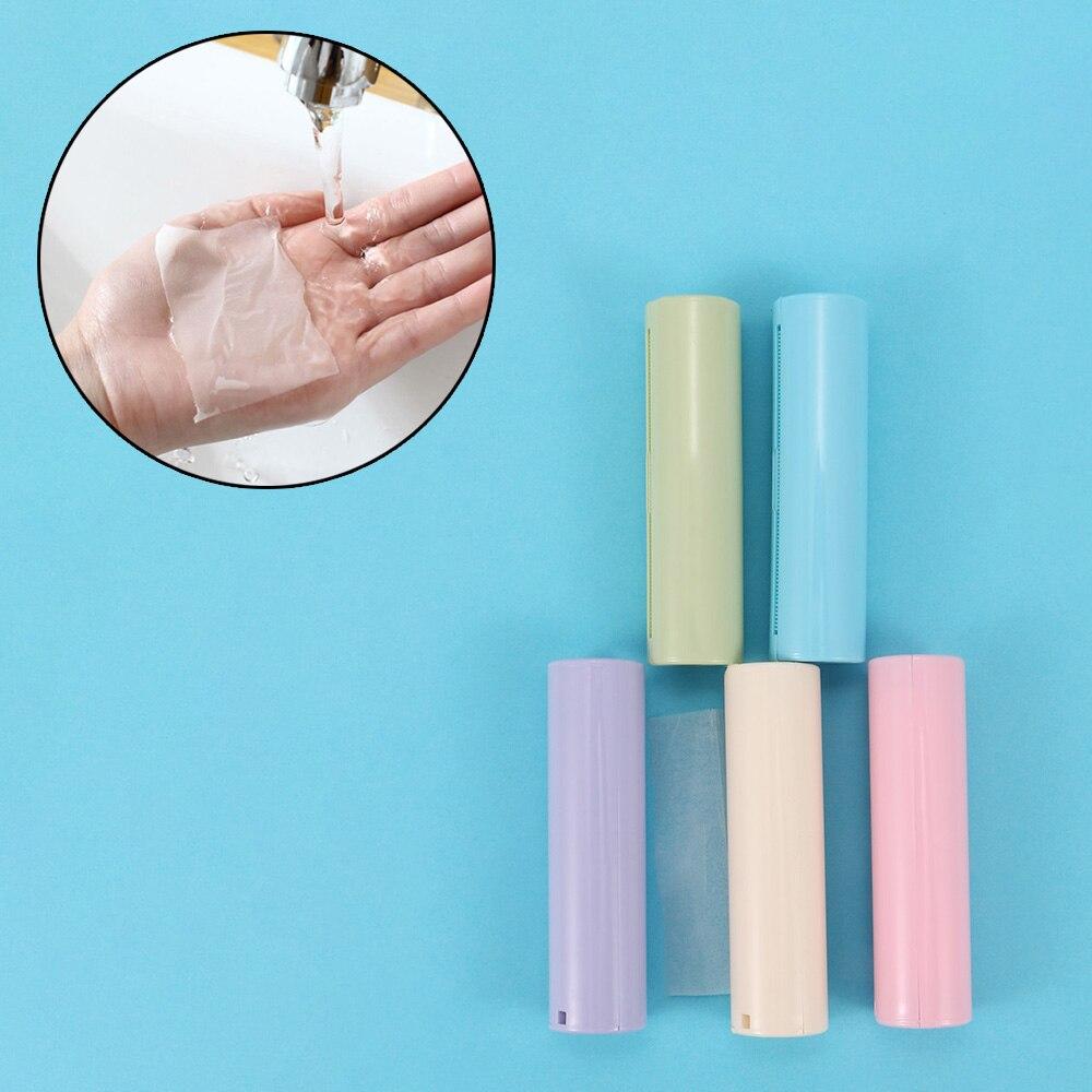 1 Box Antibacterial Antivirus Mini Portable Travel Hand Washing Pull Type Foaming Flakes Scented Slice Soap Paper