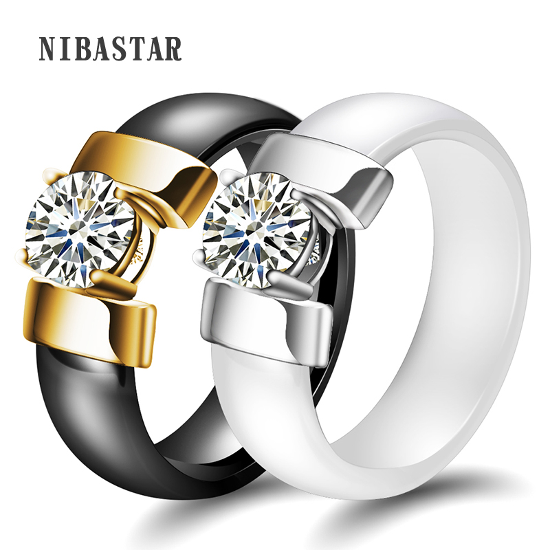 Jewelry Black&White Ceramic Wedding Ring Cubic Zircon Delicate Cabochon Smooth Engagement Rings For Women