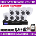 "Home CCTV Security DVR NVR HVR 960H 8CH DVR Kit 1/3""Sony 1200TVL White Dome In/Outdoor CCTV Camera System for IP Camera no HDD"