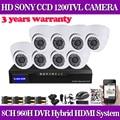"""Inicio de seguridad cctv hvr nvr dvr 960 h 8ch dvr kit 1/3 """"sony 1200TVL Cúpula Blanca En/Al Aire Libre Sistema de Cámaras de CCTV para la Cámara IP no HDD"""