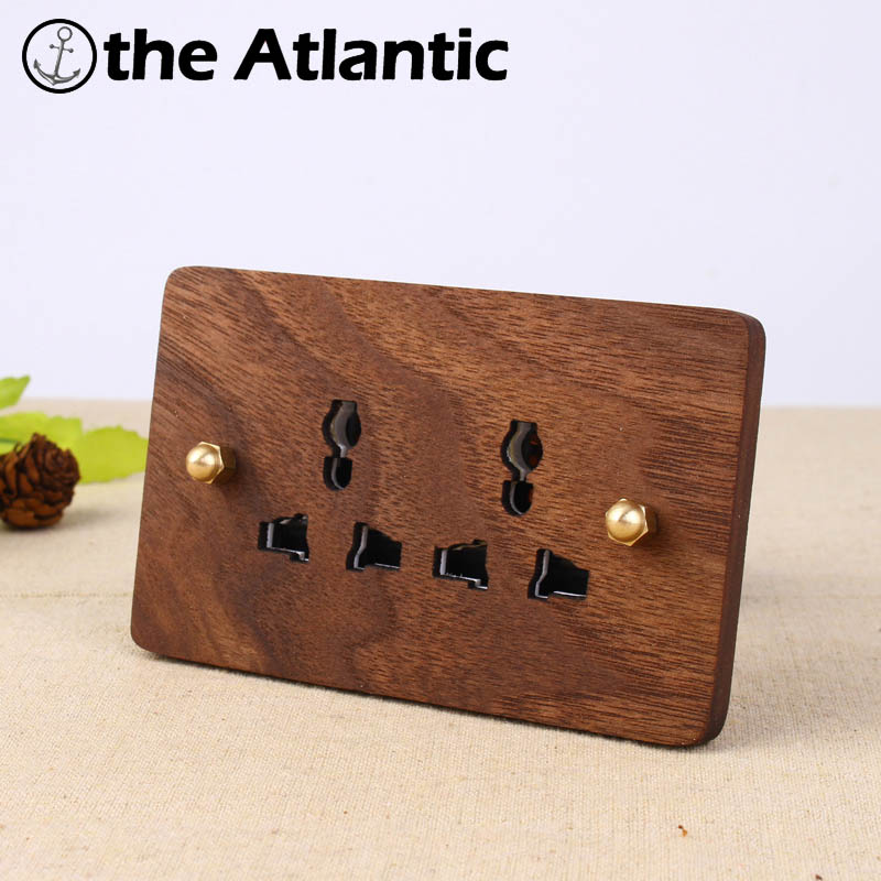 2017 Hand Made Wall Socket Double 3 Hole Socket Universal Standard European Retro 10A 110-250V Wood Panel Brass Lever 120*75mm консилер make up factory make up factory ma120lwhds40