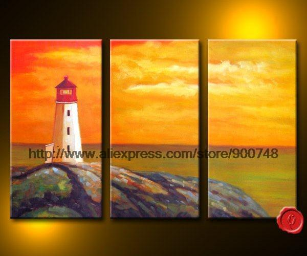 Sea Island Lighthouse Abstract Landscape Canvas African Art Large ...
