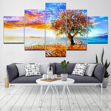 Coastal Wishing Tree Printed Canvas Wall 5 Piece Wallpapers modern Poster Modular art painting for Living Room Home Decor