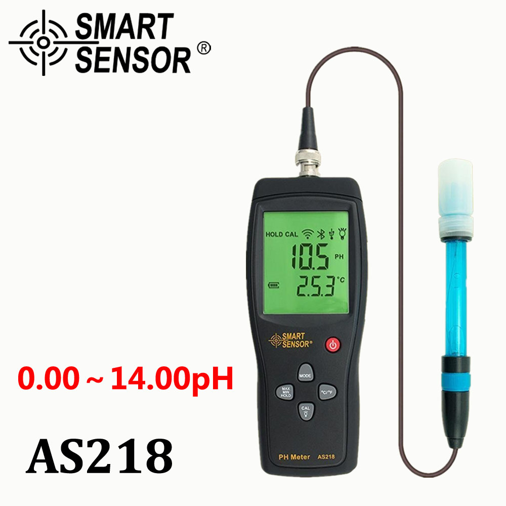 digital PH meter the Soil ph Meter PH tester SmartSensor AS218 0.00~14.00pH Moisture measuring instrument water PH acidity meter new 4 in 1 plant soil ph moisture light soil meter thermometer soil survey instrument ph value sunlight tester hot wholesale