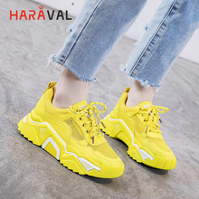 HARAVAL Fashion simple bright green sneakers women mesh lace-up shoes casual comfortable breathable running shoesN98