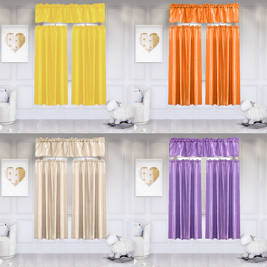 3pcs Set Pure Color Polyester Home Curtain With Swag Tier Living Room Kicthen Bathroom Window Curtain Set Home Decoration Curtains Aliexpress
