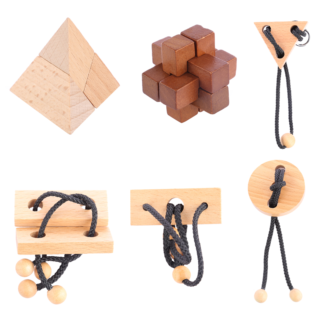 UTOYSLAND 6pcs/set Puzzle Toy Wooden Kong Ming Lock Rope Puzzle Set Brain Teaser Children Development Educational Toy classical iq brain teaser puzzle toy 3 wooden sticks kong ming lu ban lock educational toys for kids children wooden puzzle lock