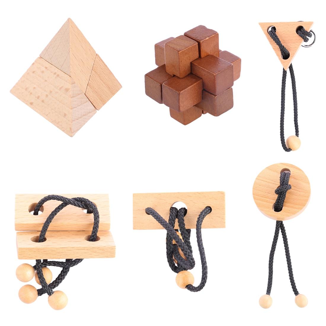UTOYSLAND 6pcs/set Puzzle Toy Wooden Kong Ming Lock Rope Puzzle Set Brain Teaser Children Development Educational Toy