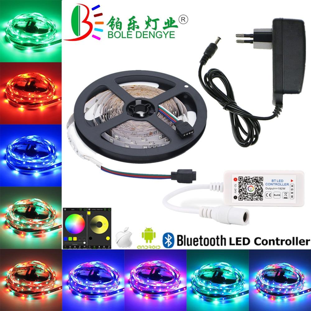 BOLEDENGYE 5m 10m 15m Bluetooth LED Tape SMD 2835 12V 60leds/m Flexible RGB LED Strip Light+Bluetooth Controller For IOS Android