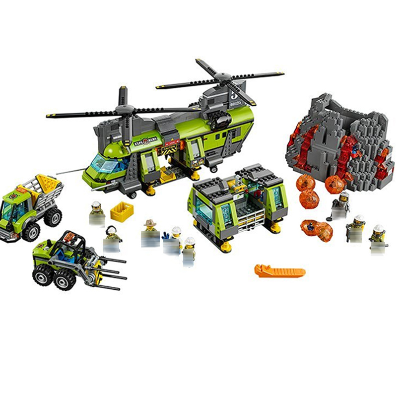60125 City Police Volcanic Expedition Heavy Air Helicopter Assembly Building Blocks Bricks Toy Gift Brinquedos Compatible 10642 kazi 6726 police station building blocks helicopter boat model bricks toys compatible famous brand brinquedos birthday gift