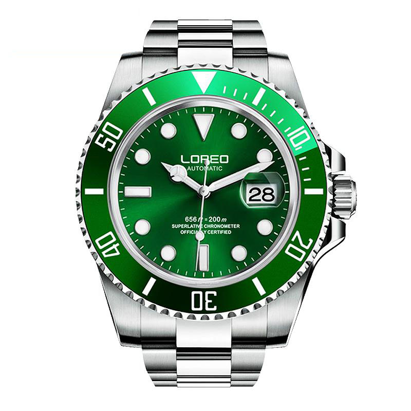 LOREO Sapphire Automatic Mechanical Watch Men silver Stainless steel waterproof green dial Watch relogio feminineLOREO Sapphire Automatic Mechanical Watch Men silver Stainless steel waterproof green dial Watch relogio feminine