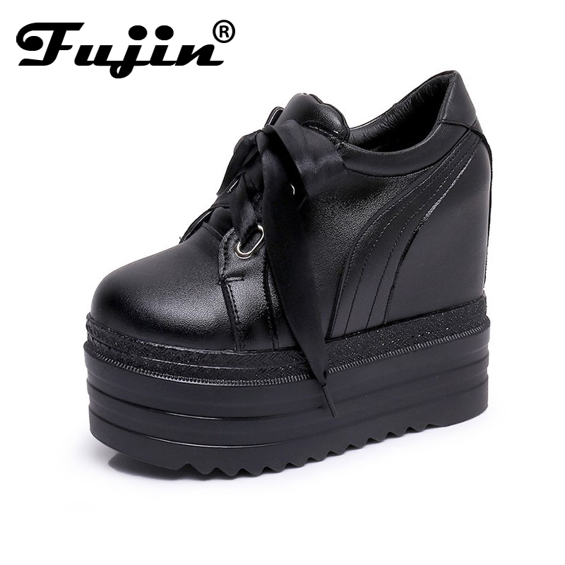 Fujin Women Creeper Fashion Spring Lace Up Flat Platform Ladies Shoes For Women Increased Shoes casual increased internal and lace up design athletic shoes for women