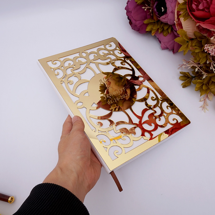 Wedding Signature Guest Book White Blank Personalized Custom Hollow Out Check In Books Party Decor Favors 26X19cm Album