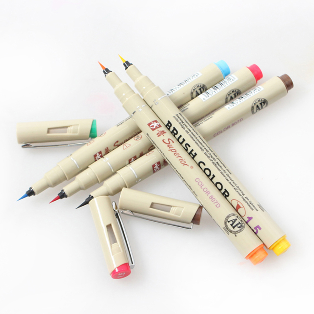 Superior Marker 12 color Drawing Artist Soft Brush Pen Sketch Marker For School Stationery Watercolor Design Paints Art Supplies