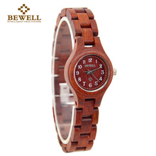 BEWELL Red Luxury Brand Wood Watch Women Slim Analog Digital Women Bracelet Watch Unique Sandalwood Girl Watch Dropshipping 123A
