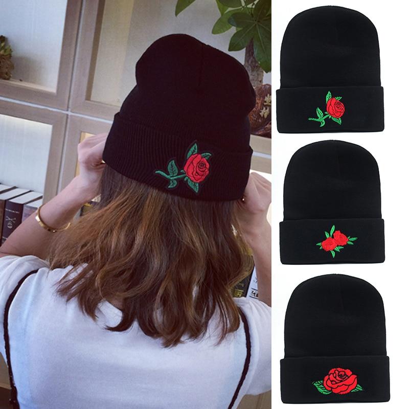 LNRRABC Unisex Embroidery Patch Rose Women Skullies & Beanies Men Knitted Winter Warmm Oversized Ski Hat Cap Beanies skullies