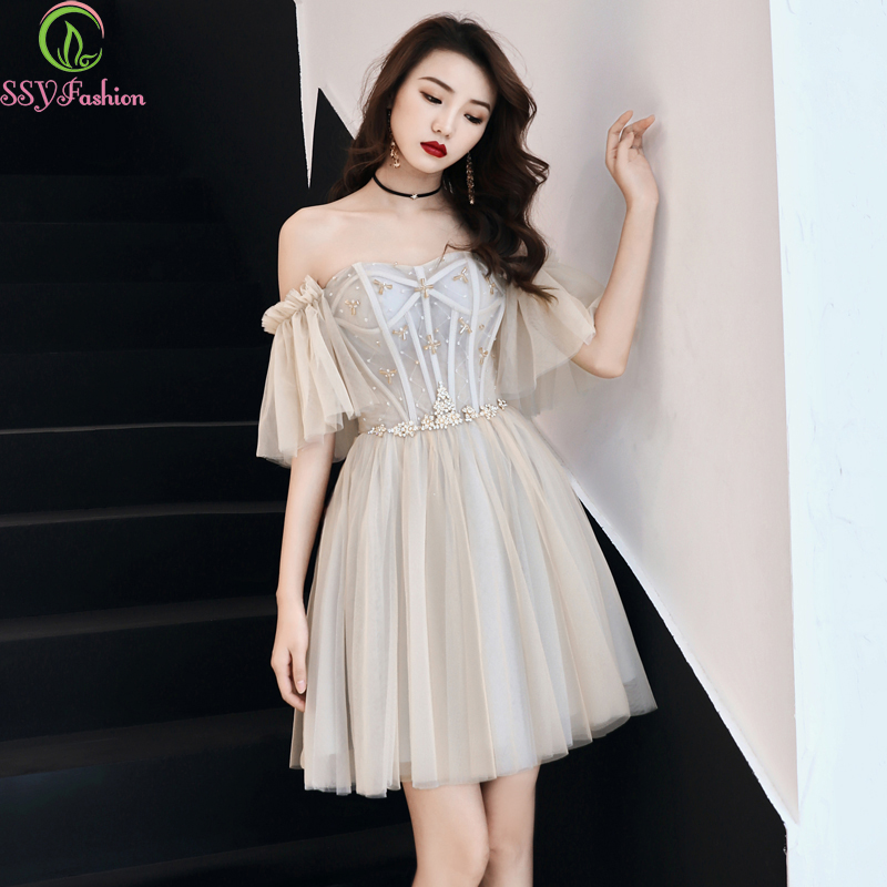 SSYFashion 2019 New Cocktail Dresses Banquet Elegant Short Beading Sweetheart Champagne Grey Party Formal Gown Robe De Soiree