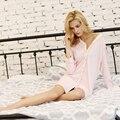 Mulheres Primavera e Verão V-Kniitting Tecido de Algodão Meninas Pijamas Noite-vestido Nevk Sleepskirts Sets Robe Noite-vestido Loungwear
