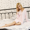 Womens Spring and Summer  V-Nevk Kniitting Cotton Fabric Girls Sleepwear Night-dress Sleepskirts Robe Sets Night-gown Loungwear