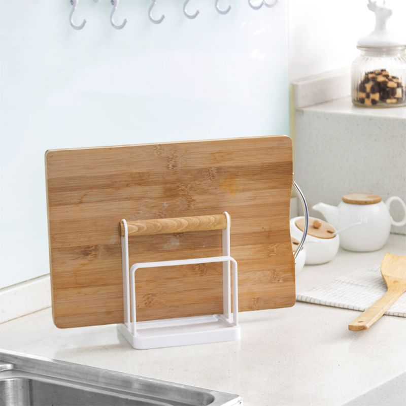 Wood Chopping Cutting Board Handle Kitchen Supplies Drain Pan And Pot Cover Holder Storage Finishing Knife Rack