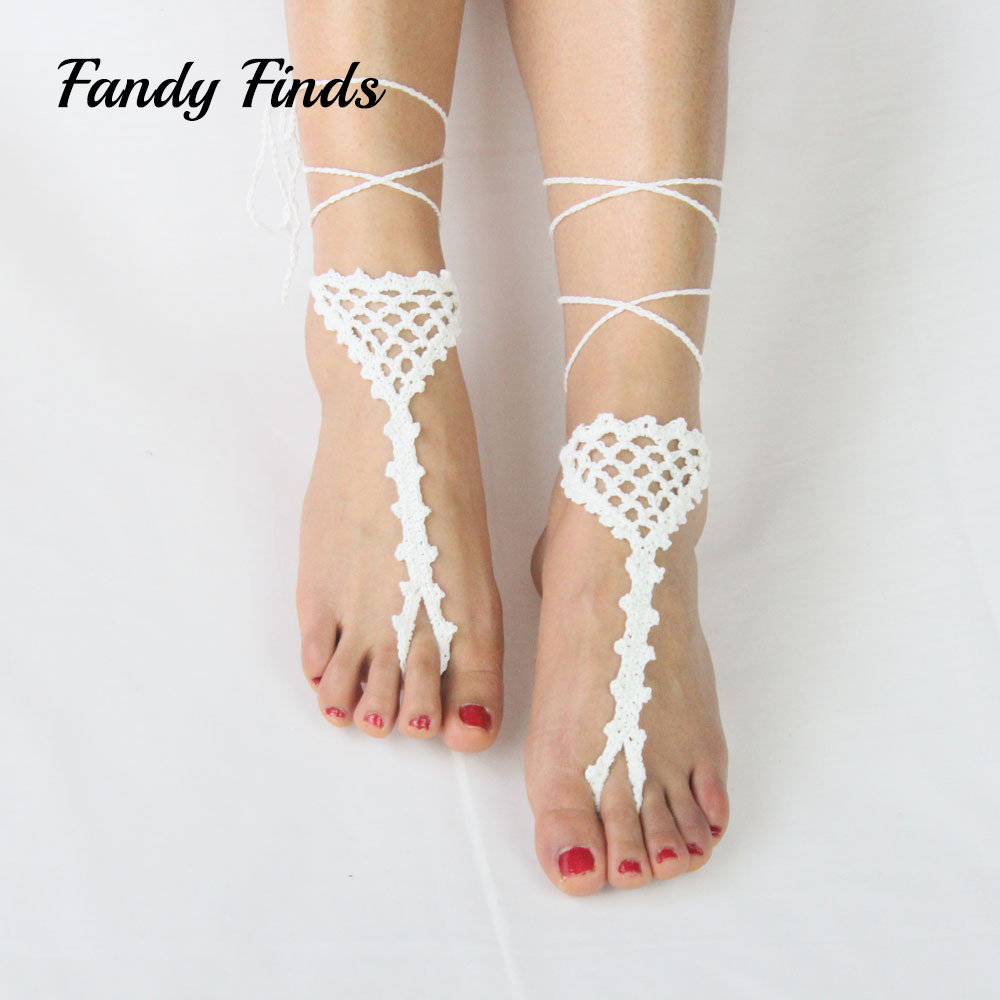 Summer Beach Footwear Women Wedding Barefoot Crochet Lace Up Diffuser Wool Cut-Outs Ladies Shoes Decorations chic floral cut out crochet cover up