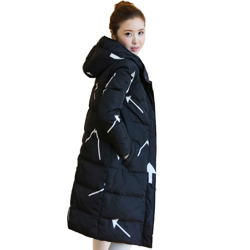 Print Winter White Duck Down Coat Women Long Puffer Jacket 2018 New Warm Hooded Padding Parka Slim Zipper Snow Outerwear AA166