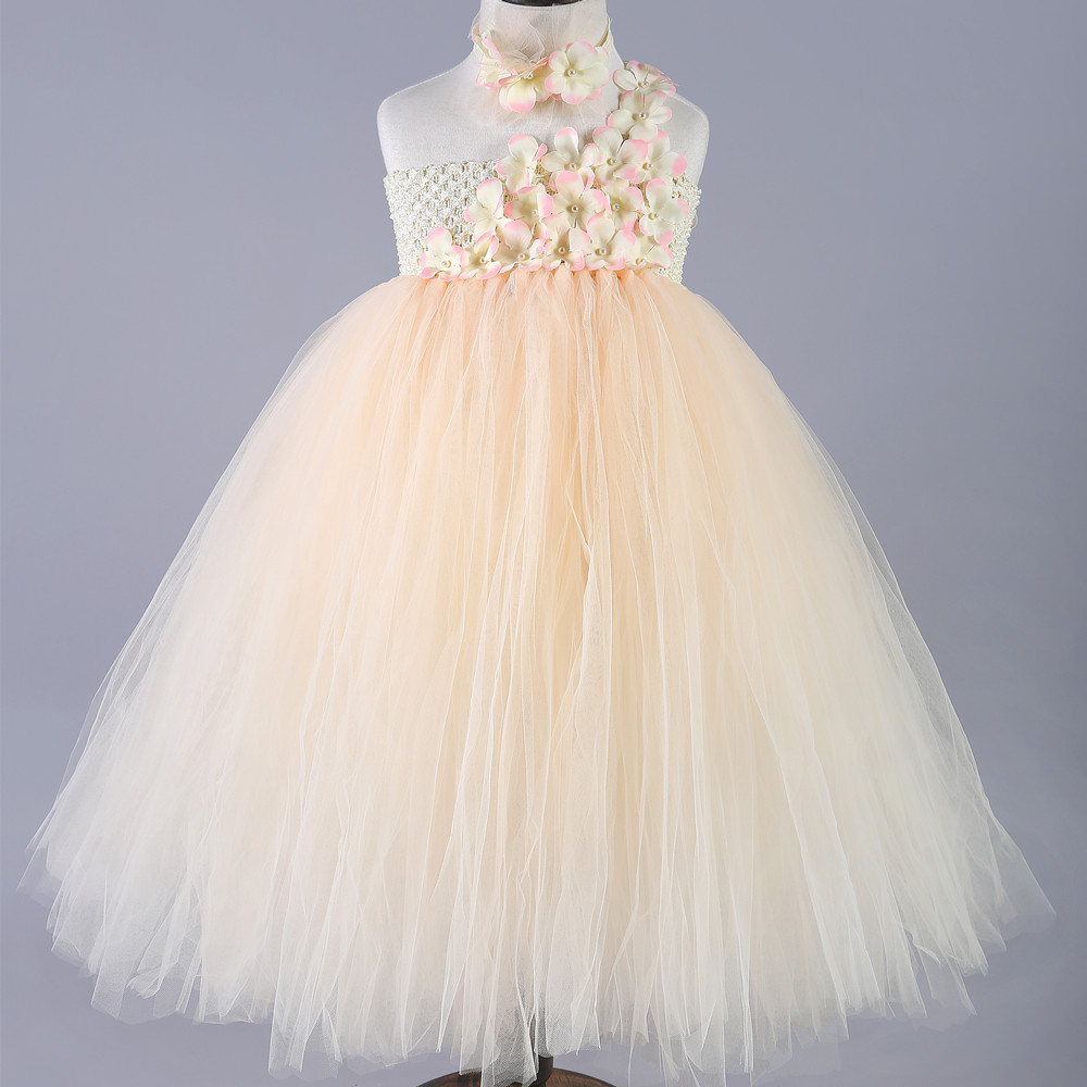 Tulle Girls Tutu Dress Champagne Baby Bridesmaid Flower Girl Wedding Dress Kids Party Birthday Evening Prom Ball Gown Clothes kids girls bridesmaid wedding toddler baby girl princess dress sleeveless sequin flower prom party ball gown formal party xd24 c